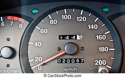 odometer - An automobile odometer