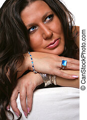 blue eyed brunette - beautiful glamorous blue eyed brunette...