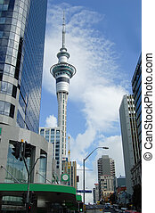 Blue Sky Auckland - Busy Auckland, New Zealand with tower...