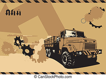 vintage truck - illustration of vintage truck in a grunge...