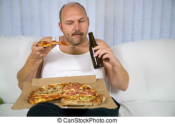 Beer and pizza series - Unhealthy fat man sitting on couch...