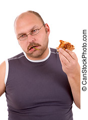 Sick of himself - Mature man eating a pizza and having had...