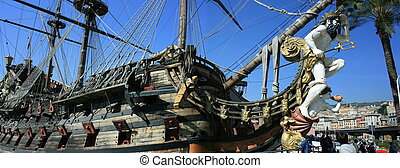 Ancient battle galley - Panorama of an old sailing and oared...