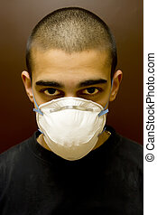 young man portrait  - young latino man portrait in mask