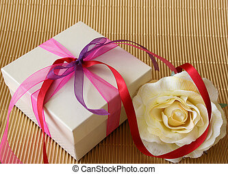 Gift Rose - Cream colored gift box and a cream colored rose