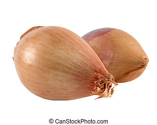 two shallots - A close up on two Shallots isolated on a...