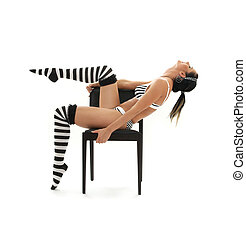 striped underwear girl workout in chair - black and white...