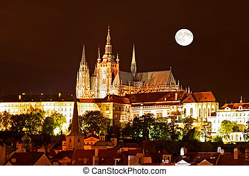 Prague City - The night view of the beautiful Prague City...