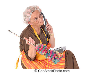 Cleaning lady on phone - Middle aged housewife, cleaning...
