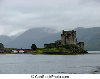Eilean Donan Castle on a foggy day