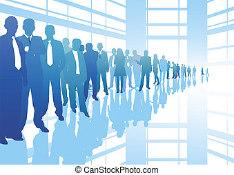 Business career - business people in line with reflection...