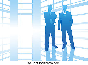 businessmen - business people in big hall with reflection...