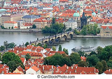 Prague City - The aerial view of Prague City from Petrin...