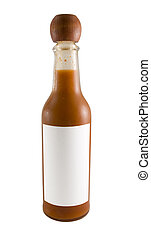 Hot Sauce Bottle - a close up on a bottle of red hot sauce...