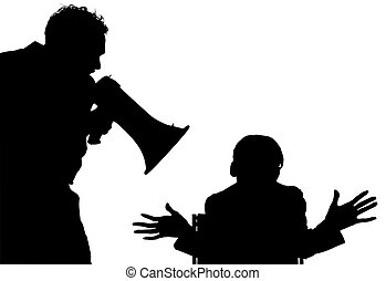 Silhouette With Clipping Path of Man yelling at woman -...