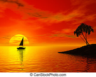 Tropic sunset - Boat and sunset over ocean. Tropic 3d scene
