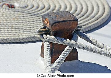 Mooring rope - Detail of a sailing boat - mooring