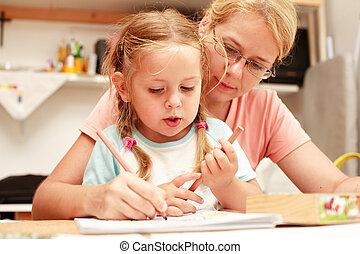 madre, bambino, pittura