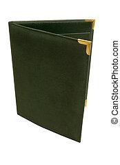 Folder - a dark green folder standing on end