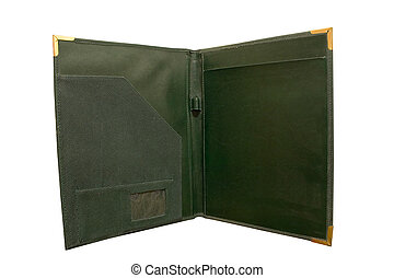 Opened Folder - an isolated dark green leather open folder