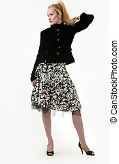 Mature fashion - Whole body of blond woman with hair in...
