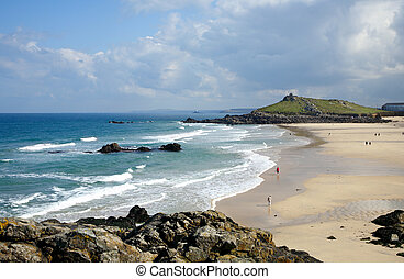 Low spring tide at Porthmeor beach in St. Ives, Cornwall, UK