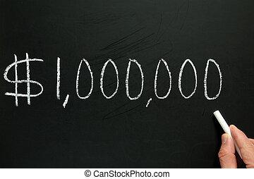 One million dollars, written on a blackboard.
