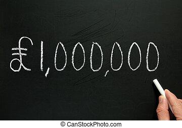 um, milhão, libras, escrito, quadro-negro