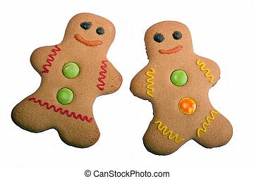 Isolated Gingerbread People - Gingerbread man and woman on a...