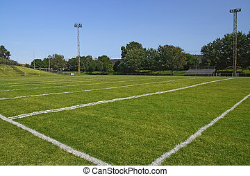 Football field - American football playing field under blue...