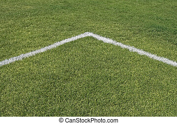 Corner of playing field - Corner boundary lines of a green...