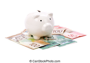 cerdito, Banco, canadiense, dólares