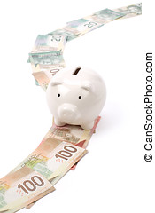 Piggy Bank and dollars - Piggy Bank and canadian dollars,...
