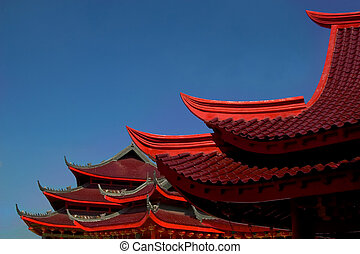 roof of chinese tempe - roff of ancient chinese red buddha...