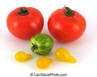 yellow, green and red tomatos - three kinds of tomatos no...