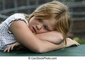 cansadas, pequeno, menina