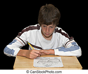 Boy Drawing Picture - An artistic young man drawing a...