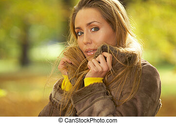 Its Autumn 2 - 20-25 years old beautiful sexy woman portrait...