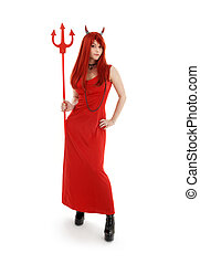 red devil girl in latex boots over white background