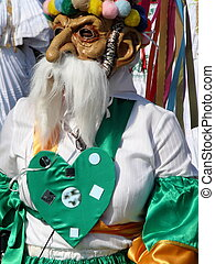 Gnome Costume - A man dressed in gnome mask with large nose...