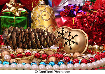 Christmas Decorations With Pine Cone and Beads