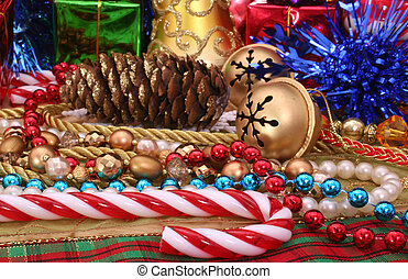 Christmas Decorations With Beads and Candy Cane