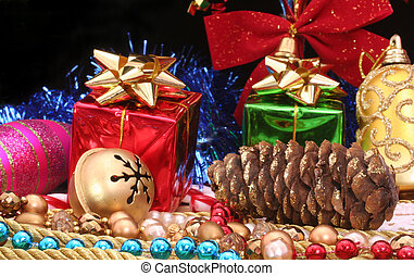 Christmas Decorations - Christmas Gifts With Beads and Pine...