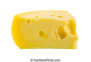 piece of cheese - the piece of cheese isolated on white...