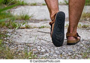 foot in sandals - male foot in sandals
