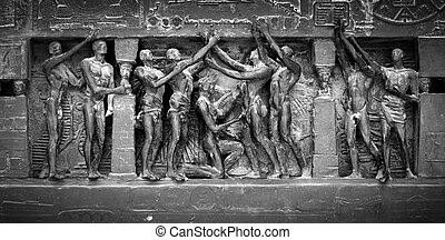 Black and white image showing detail from the Human Rights...