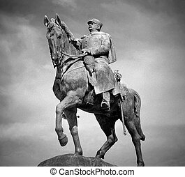 Equestrian Statue, Paris - Black and white image of the...