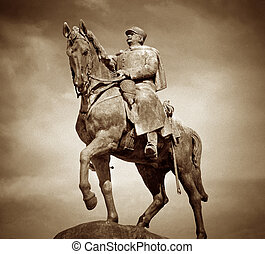 Equestrian Statue, Paris - Sepia toned image of the...