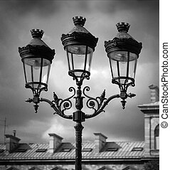 Lamps, Paris - Black and white image of decorative lamps...