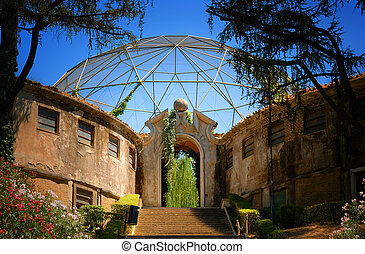 Stairs and Archway Leading to Aviary in Zoo in Rome, Italy -...
